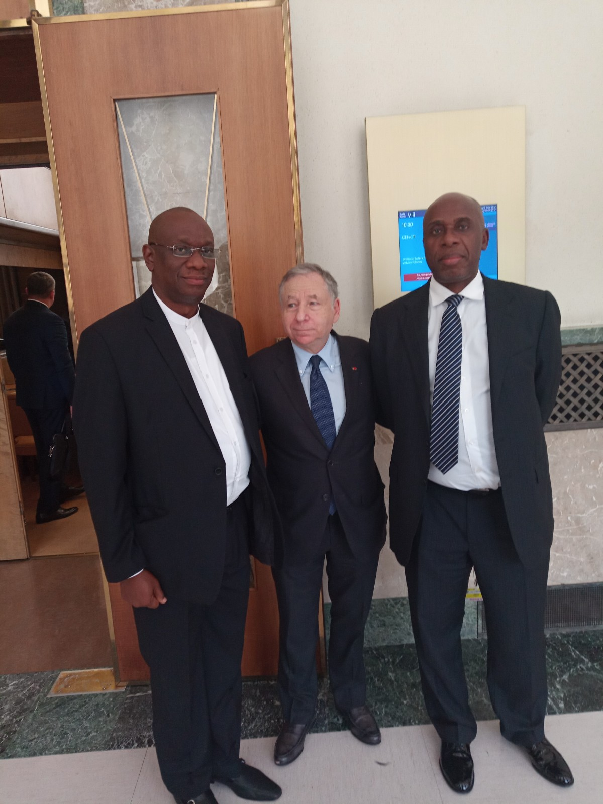 Hon Minister of Transportation, Rotimi Amaechi, The UN Special Envoy on Road Safety, Mr. Jean Todt and the Corp Mashall of the Federation, Mr. Boboye Oyeyemi at the inauguration of the UN Road Safety Trust Fund Advis