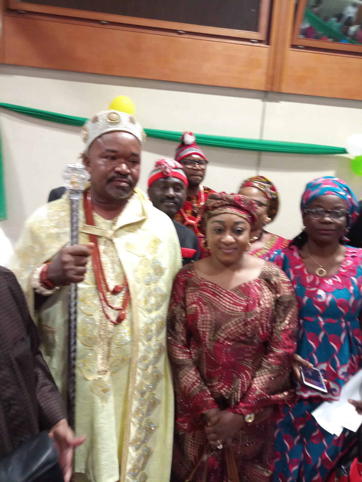 Minister II, Dr. Amina Smaila and staff members with the Igwe at the Igbo Community New Yam Festival in Geneva