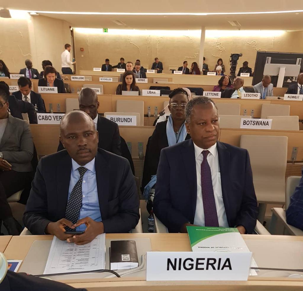 The Charge d'Affaires, Mr. Tunde Mustapha and H.E. Mr. Geoffrey Onyeama at the ongoing 43rd Session of the Human Rights Council Meetings, at U.N. Geneva