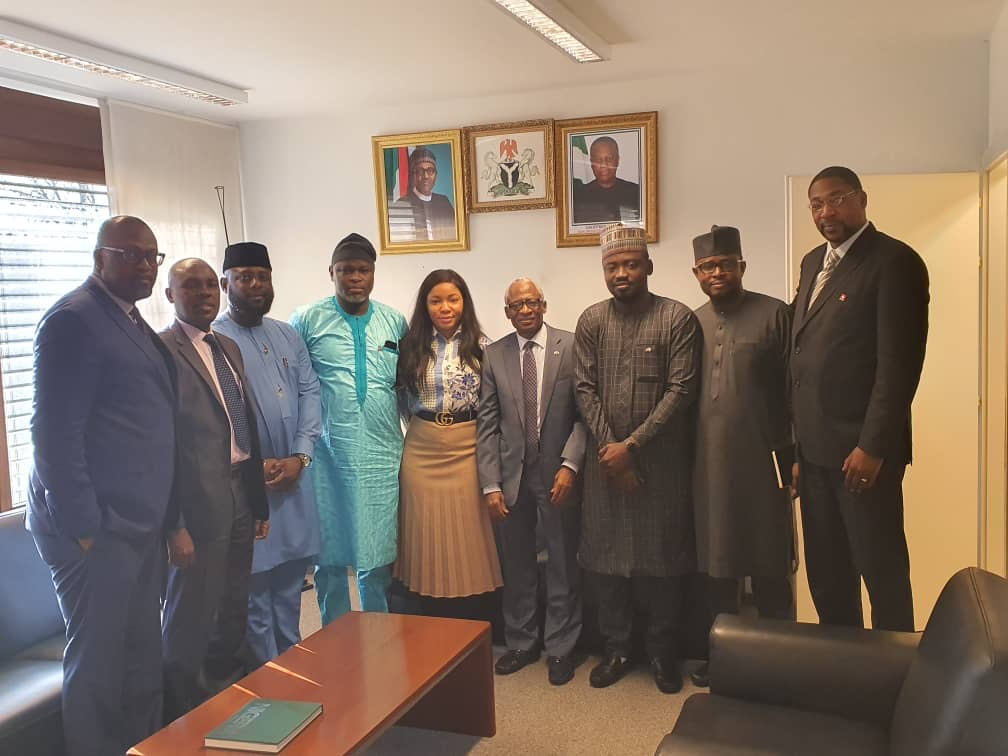 Delegation of Nigerian Student in Switzerland  visiting H. E. Ambassador Audu A. Kadiri at his Office.